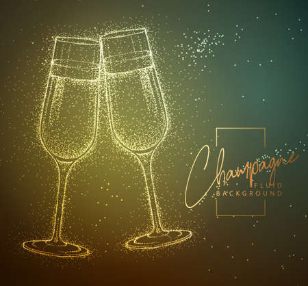 Neon fluid couple of glasses of champagne vector illustration. Fluid background. Illustration
