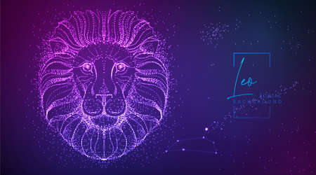 Neon modern fluid background with astrology Leo zodiac sign. Vector illustration