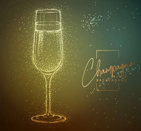 Neon fluid champagne glass vector illustration. Fluid background. Illustration