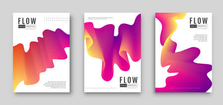 Gradient abstract 3D fluid background. Set of Modern covers design. Vector illustration Ilustrace