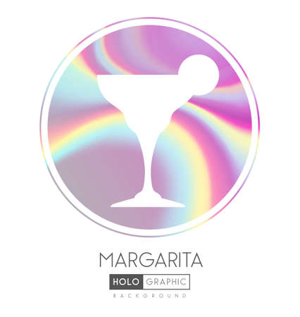 Cocktail silhouette on abstract holographic background. Margarita cocktail holographic icon Ilustrace