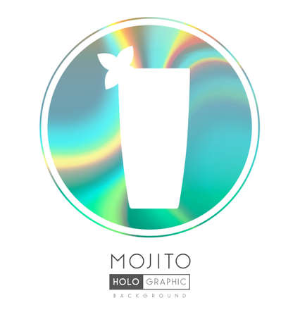 Cocktail silhouette on abstract holographic background. Mojito cocktail holographic icon Ilustrace