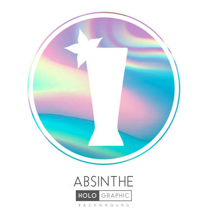 Cocktail silhouette on abstract holographic background. Absinthe cocktail holographic icon Ilustrace