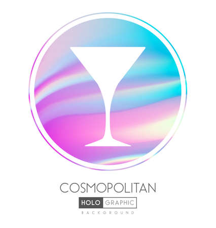 Cocktail silhouette on abstract holographic background. Cosmopolitan cocktail holographic icon