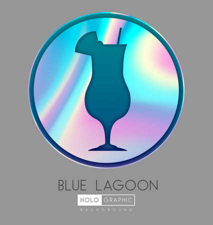 Cocktail silhouette on abstract holographic background. Blue lagoon cocktail holographic icon