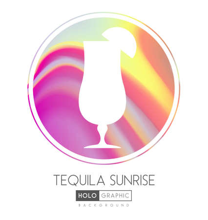 Cocktail silhouette on abstract holographic background. Tequila sunrise cocktail holographic icon