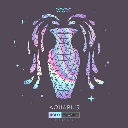 Modern magic witchcraft card with polygon astrology Aquarius zodiac sign. Holographic Polygonal water jug illustration Ilustrace