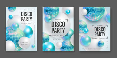3D abstract background with holographic blue spheres and disco ball spheres. Disco ball background. Set of disco party posters. Vector illustration