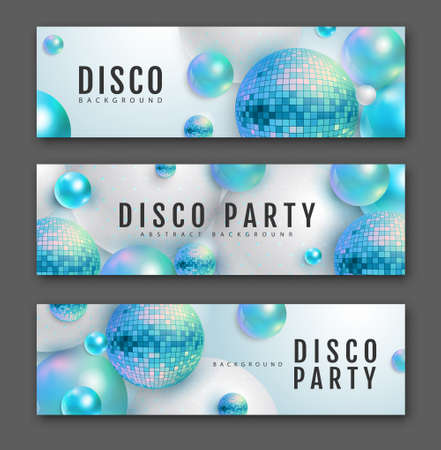 3D abstract background with holographic blue spheres and disco ball spheres. Disco ball background. Set of disco party banners. Vector illustration