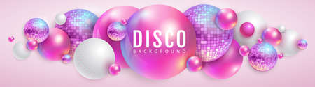 3D abstract background with holographic pink spheres and disco ball spheres. Disco ball background. Disco party poster. Vector illustration