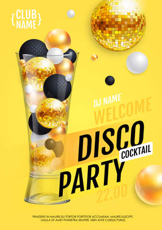 Cocktail disco party poster with 3d abstract spheres and golden disco ball. Vector illustration
