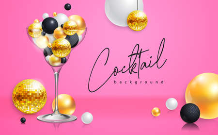 Cocktail disco party poster with 3d abstract spheres and golden disco ball. Cocktail background. Vector illustration 向量圖像