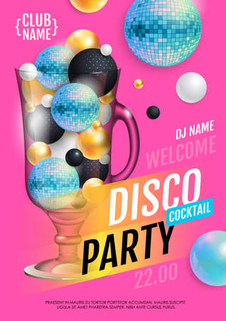 Cocktail disco party poster with 3d abstract spheres and blue disco ball. Vector illustration