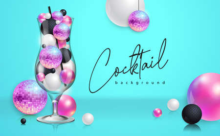 Cocktail disco party poster with 3d abstract spheres and pink disco ball. Cocktail background. Vector illustration