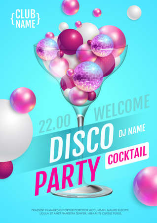 Cocktail disco party poster with 3d abstract spheres and pink disco ball. Vector illustration 向量圖像