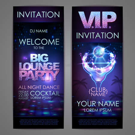 Set of disco background banners. Big lounge cocktail party poster 向量圖像