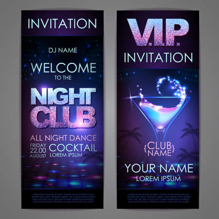 Set of disco background banners. Cocktail night club poster