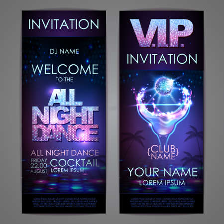 Set of disco background banners. All night dance cocktail poster 向量圖像