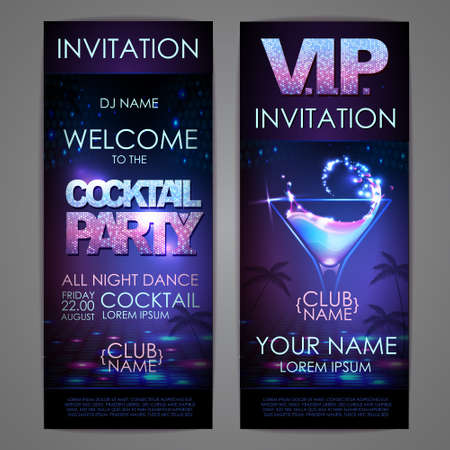Set of disco background banners. Cocktail party poster