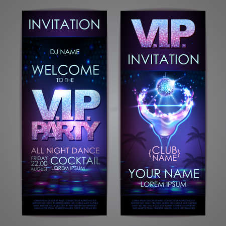 Set of disco background banners. VIP cocktail party poster 向量圖像