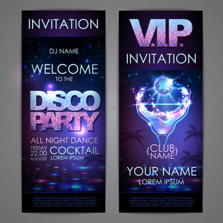 Set of disco background banners. Cocktail disco party poster