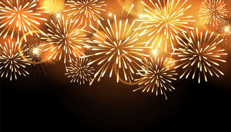 Vector holiday golden firework. Independence day. New Year Background