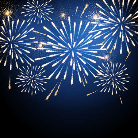 Vector holiday blue and gold firework. Independence day. New Year background