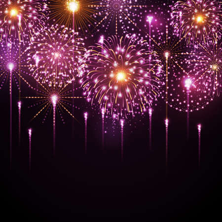 Vector holiday festival pink firework. Independence day. New Year background