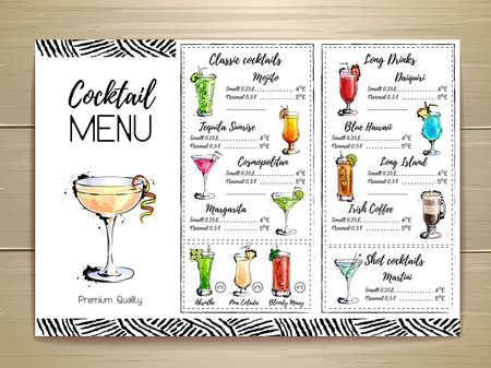 Cocktail menu design Ilustração