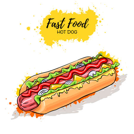 Hand drawn Hot Dog. Fast food sketch Ilustração