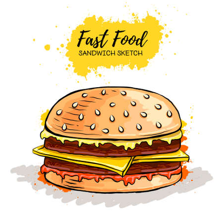 Hand drawn Hamburger or Sandwich. Fast food sketch Ilustração