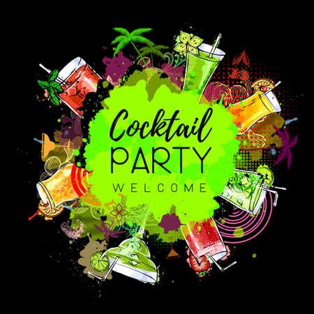 Cocktail party poster design. Cocktail menu
