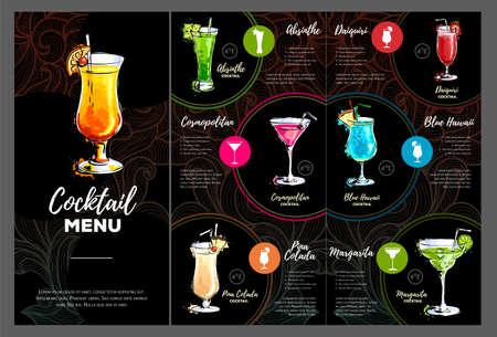 Artistic Cocktail menu design. Vector illustration Ilustração