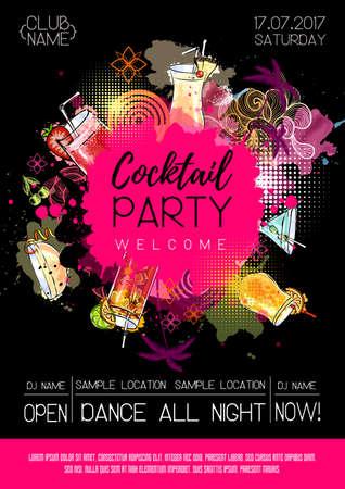 Cocktail summer party poster design. Cocktail menu. Vector illustration