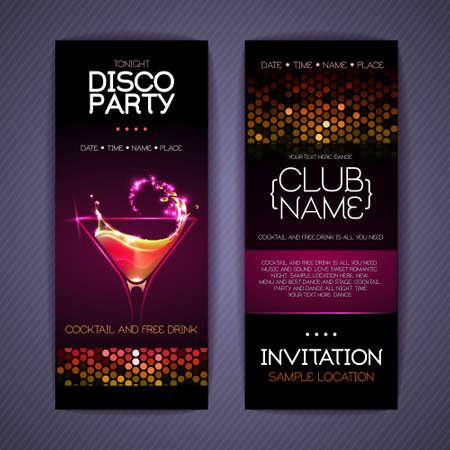 Disco Corporate identity templates. Cocktail party poster. Invitation design Ilustração