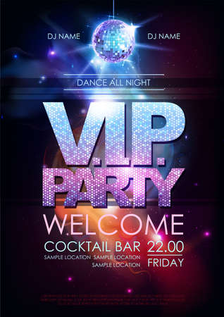 Disco ball background. Disco VIP party poster on open space background