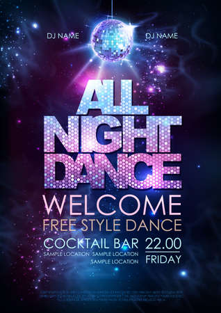 Disco ball background. Disco all night dance party poster on open space background Ilustração