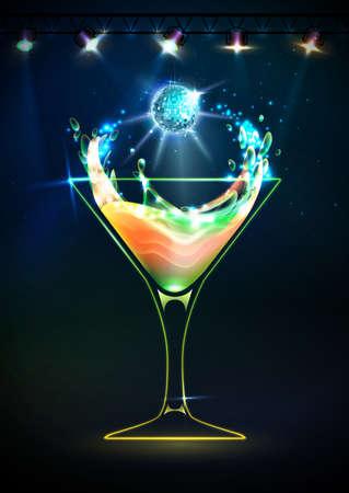 Disco neon Cocktail background