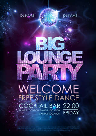 Disco ball background. Disco big lounge party poster on open space background Ilustração