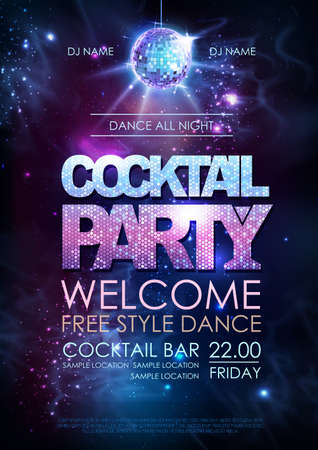Disco ball background. Disco cocktail party poster on open space background Ilustração