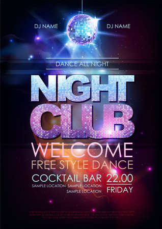 Disco ball background. Disco night club poster on open space background