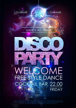 Disco ball background. Disco party poster on open space background Ilustração