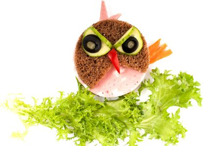 fun colors: Angry Bird sandwich for child - isolated on white background. Stock Photo