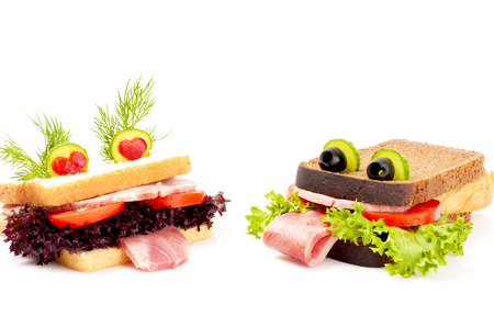 healthy snacks: Two lovers funny sandwich for child, isolated on white background. Stock Photo