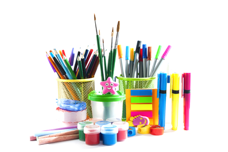 composition of stationery over white background. Stock Photo
