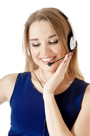 Portrait of a happy smiling support phone operator wearing a headset against white background. photo