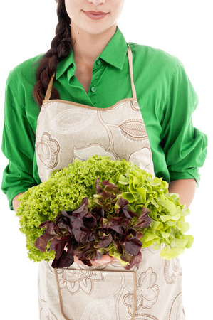 nourish: Woman with lettuce over white background.