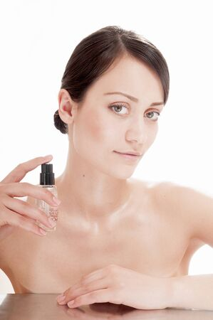 humidify: Pretty woman with serum for complexion skin. Skin care concept.