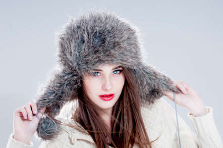 makeups: Winter fashion woman in a fur  hat.