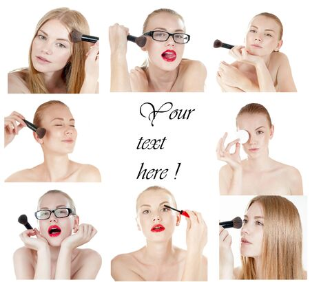Collage of young beautiful girl  with perfect skin on white background. Concept of beauty industry. photo